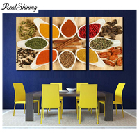 REALSHINING Diy 5D Mosaic Diamond Painting Cross Stitch Poon Grains Spices Food Diamond Embroidery full square 3D sticker FS2071