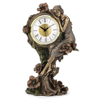 Art series cold casting copper process European beauty and poppy flower stone British clock home Decoration Wanlang American