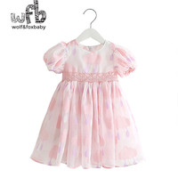 Retail 2 8 Years Short Sleeved Chiffon Cotton Cloud Bubble Sleeves Dress Children Summer