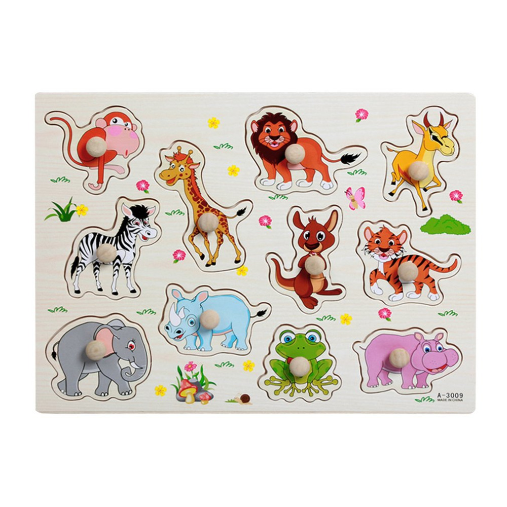 Hot ! 3D Puzzle Baby Wooden Wooden Animal Jigsaw Playing Games Board Jigsaw Toys for Children Funny Educational Birthday Gifts