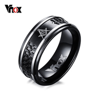Punk Black Men S Masonic Rings 8mm VNOX Surgical Steel Male Ring Jewelry US Size 7