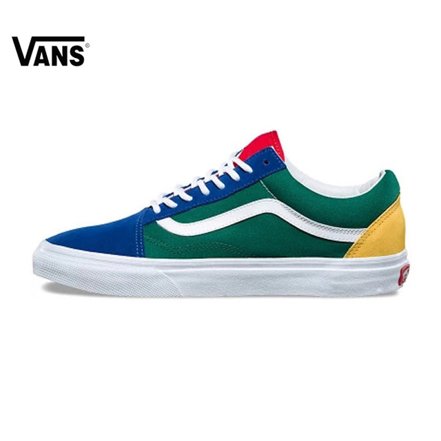 4c6e2389d4554c Vans Old Skool Original Skateboarding Shoes Outdoor Rainbow Retro Blue and  Green Color for Women VN0A38G1R1Q 35-39