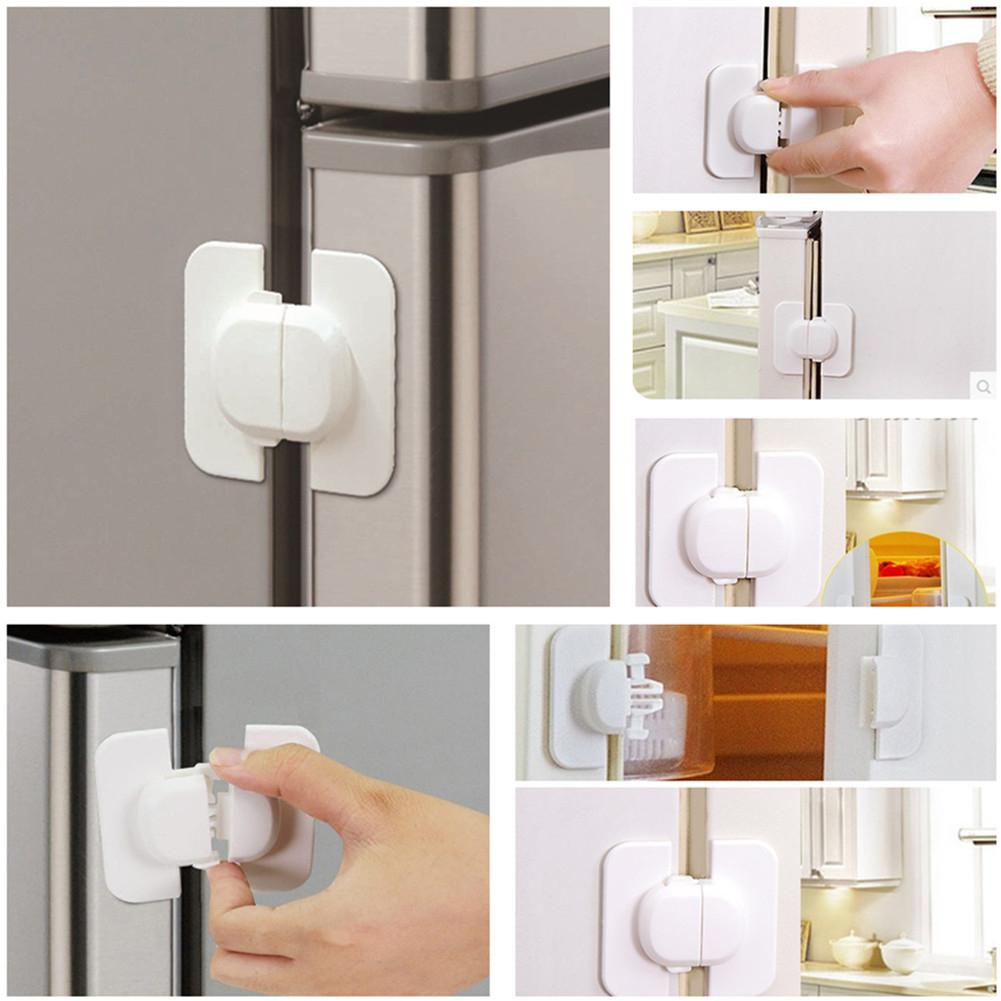 Kidlove  Baby Square Lock White With Double-sided Adhesive Safety Products For Cabinet Refrigerator Drawer