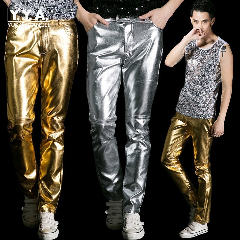 New Arrival High Quality Silver Men's Pop Singer Cool Male Sexy Fashion Pants Night Club Party PU Slim Fit Trousers Plus Size