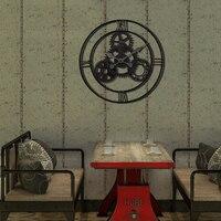 Шестерни креативные железные настенные часы Искусство ремесло бесшумные настенные часы круговой кухонный Декор Eisen старинные часы декорат