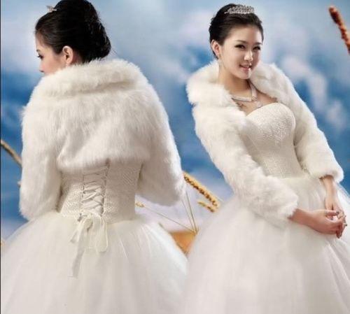 White,Ivory ,Black Faux Fur Jacket Wedding Coat Women Wrap Shrug Bolero Bridal Shawl Women's Jacket