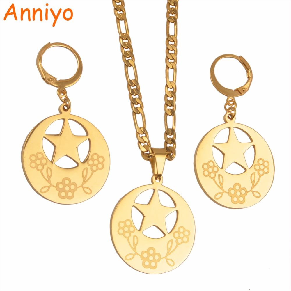 Anniyo Round Pendant Necklaces and Earrings With Star for Women Party Jewelry Australia New Zealand Gifts #026821 bledisloe cup new zealand australia