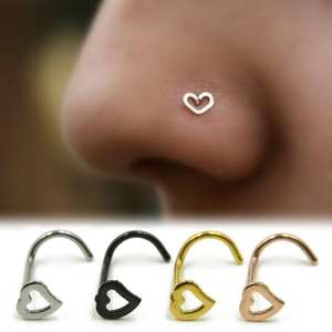 FUNIQUE 1pc Fashion Girl Body Jewelry Heart Stainless Steel Nose Ring & Studs Stainless Steel Nose Piercing Punk Party Jewelry