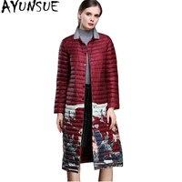AYUNSUE 2018 Fashion Autumn Winter Jacket Women Ultra Light Womens Down Jackets Printing Long Thin Coat doudoune femme WYQ885