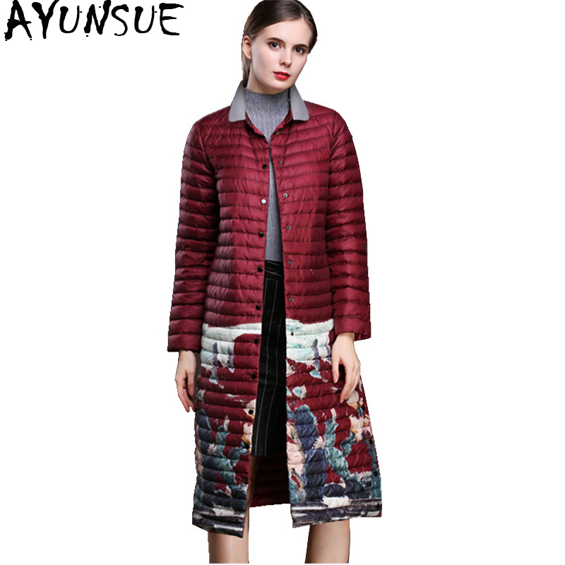 AYUNSUE 2018 Fashion Autumn Winter Jacket Women Ultra Light Womens Down Jackets Printing Long Thin Coat doudoune femme WYQ885