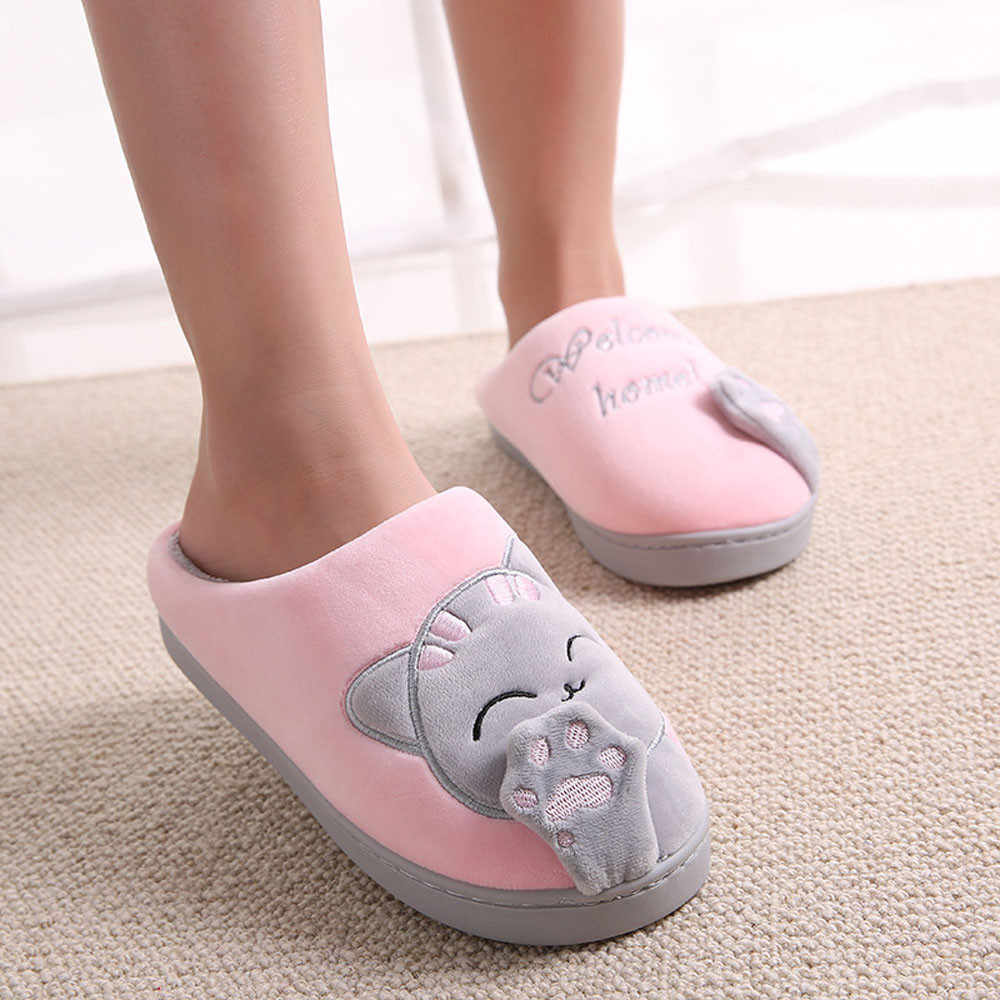Cute Non-slip Winter Animal Women Slippers Home Female Comfort Floor Women Shoes Cotton Ladies Indoor Slippers Plush Slipper
