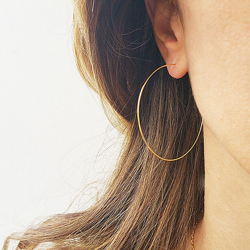 Domino Handmade Thin Hoops Extra Large Hoop Earrings Wire Earrings Minimalist Lightweight