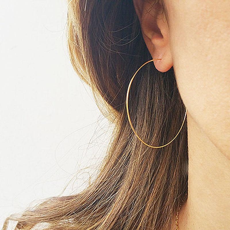 Domino Handmade Thin Hoops Extra Large Hoop Earrings Wire Earrings Minimalist Lightweight