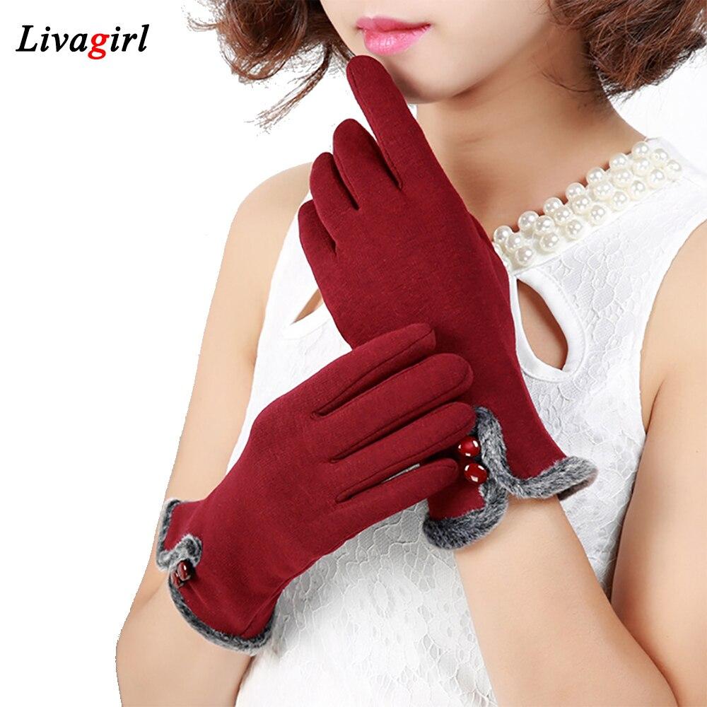 1 Pair Fashion Women Gloves Autumn Winter Screen Wrist Warmer Full Finger Mittens Women Cashmere Elegant Gloves Luvas Inverno