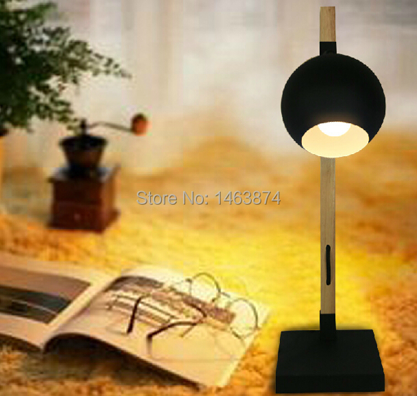 Nordic bedroom desk lamp bedside small wooden retro creative material: wood / iron, E27, AC110-240V north european style retro minimalist modern industrial wood desk lamp bedroom study desk lamp bedside lamp