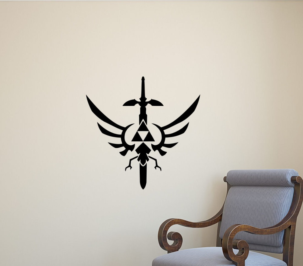 Legend of zelda wall decal sword pattern movie wall for Autocollant mural chambre bb
