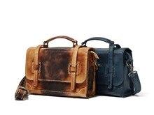 New Vintage Men Casual Briefcase Business Shoulder Bag Leather Messenger Bags Computer Laptop Handbag Bag Men's Travel Bags