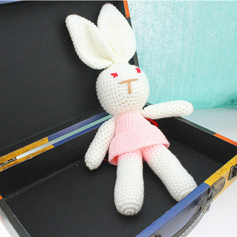 Newborn Photography Props Cute Wool Toys Baby Rabbit Photos Accessories Hand Knit  Animal Model Bunny Doll  Baby Photo Accessory