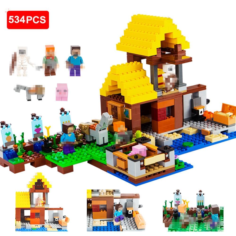 534pcs Minecrafted Building Blocks Farm Cottage Action Figures DIY Bricks Educational Toys For Kids Compatible Legod Minecrafted цена