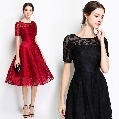 Fitaylor 2018 elegantes vestidos de fiesta de noche para mujer cuello  redondo manga corta talla grande 5xl verano Floral Vintage Vestido largo de  encaje ... 00fbf74b35f5
