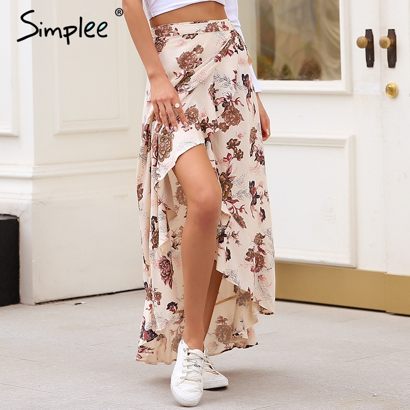 Simplee Ruffle wrap boho maxi skirt women Asymmetric sash