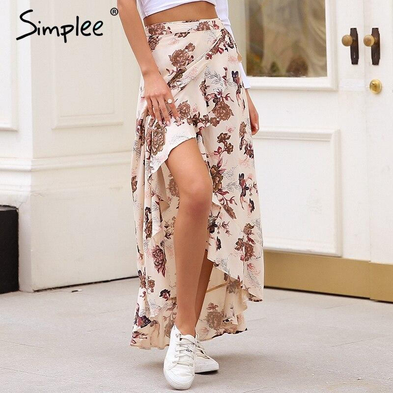 6e54d792c9 Simplee de envolver boho maxi falda mujeres falda asimétrica faja de cintura  alta falda Casual floral print playa verano Falda Mujer