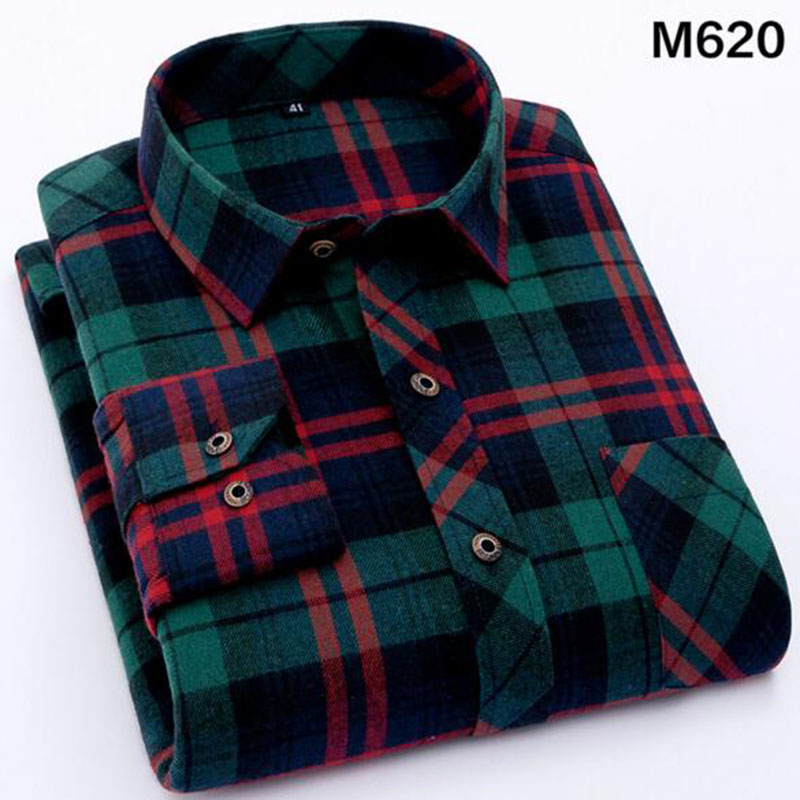 Men Spring Autumn Hot Sale Casual Long Sleeve Single Breasted Shirts Camisa,Lapel Pure Cotton Soft Plaid Shirts Top Size S-4XL