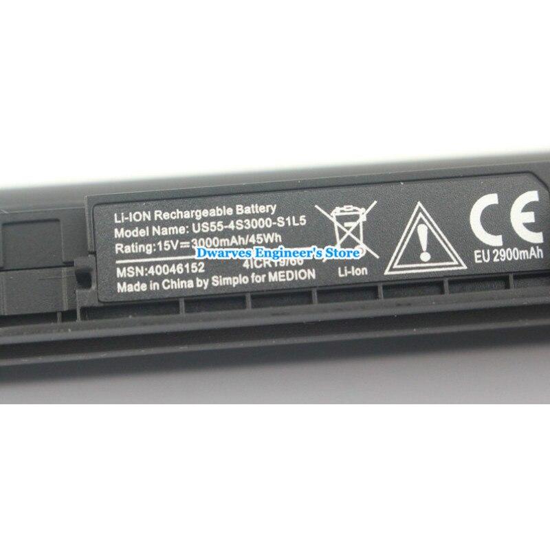 Batterie d'ordinateur portable 14.4 V 3000 mAh de haute qualité US55-4S3000-S1L5 pour batterie Rechargeable Medion 40046152 4ICR19/66 livraison gratuite - 2