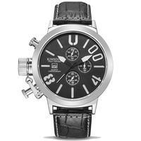 Fashion Big Dial Cool Watch Men Luxury Leather Waterproof Chronograph Quartz Sport Wrist Watch Men Clock Male Relogio Masculino