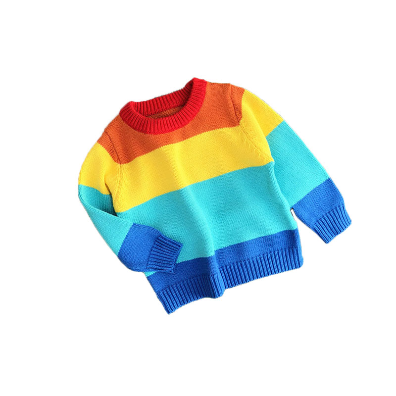 New autumn rainbow baby girls and boys sweater for kids knited Christmas
