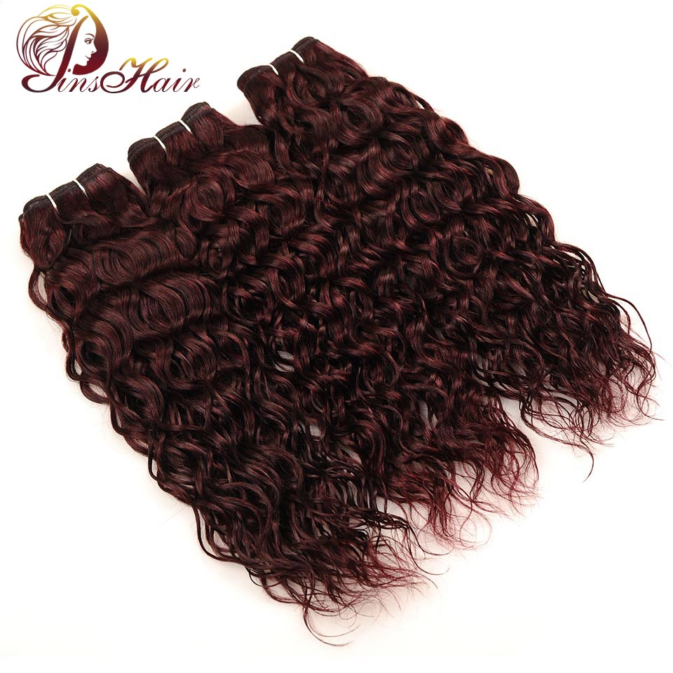 Pinshair Red Hair Malaysian Water Wave Hair Bundles 3 Pcs Burgundy 100% Human Hair Extensions Wet Wavy Hair Non Remy Tangle Free