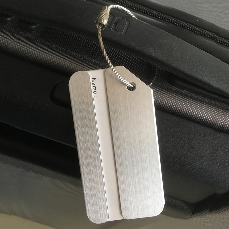 New Aluminium Travel Luggage Baggage Tag Suitcase Identity Address Name Labels(Silver)