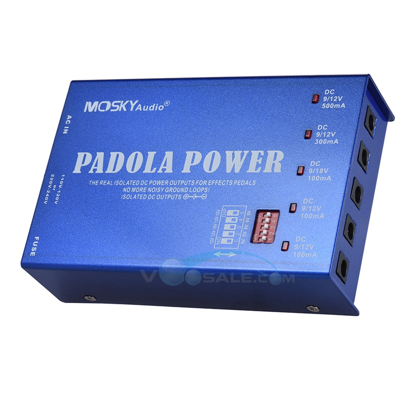Фотография Mosky Padola Power Supply for DC 9V 12V 18V Effects Pedals  with 5 Isolated Outputs DC 9V/ 12V / 18V