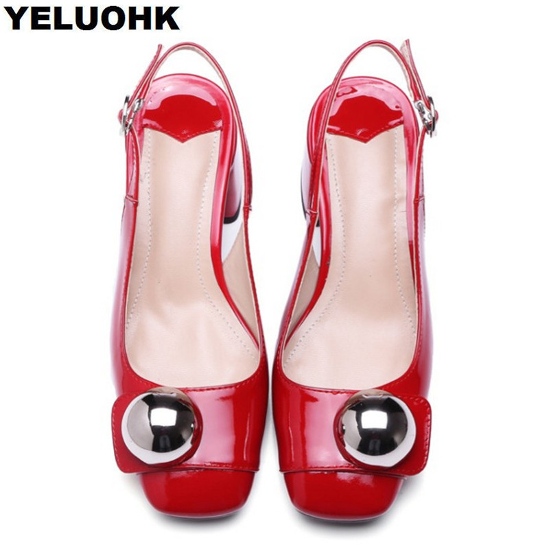 New Brand Patent Leather High Heel Shoes Women Sexy Thick Heel Slingbacks Ladies Pumps 5.5cm Summer Shoes luxury brand crystal patent leather sandals women high heels thick heel women shoes with heels wedding shoes ladies silver pumps