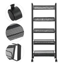 Removable 5 Tiers Metal Storage Rack Trolley Cart for Hair Salons Beauty Salons Storage Trolley for Beauty Salons or Hair Salon(China)