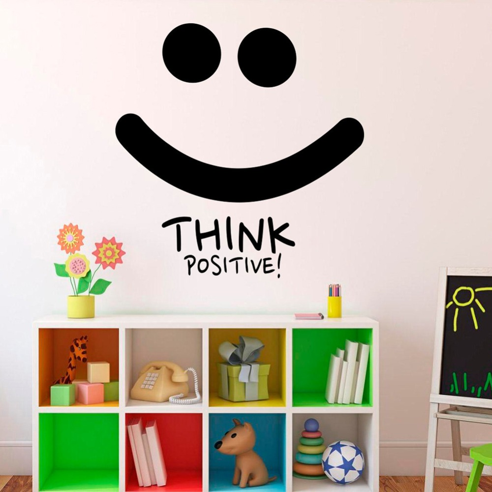 Think Positive Smile Wall Decal Motivation Quotes Inspiration Wall Sticker Home Decor Bedroom Removable Office Art Decals S718