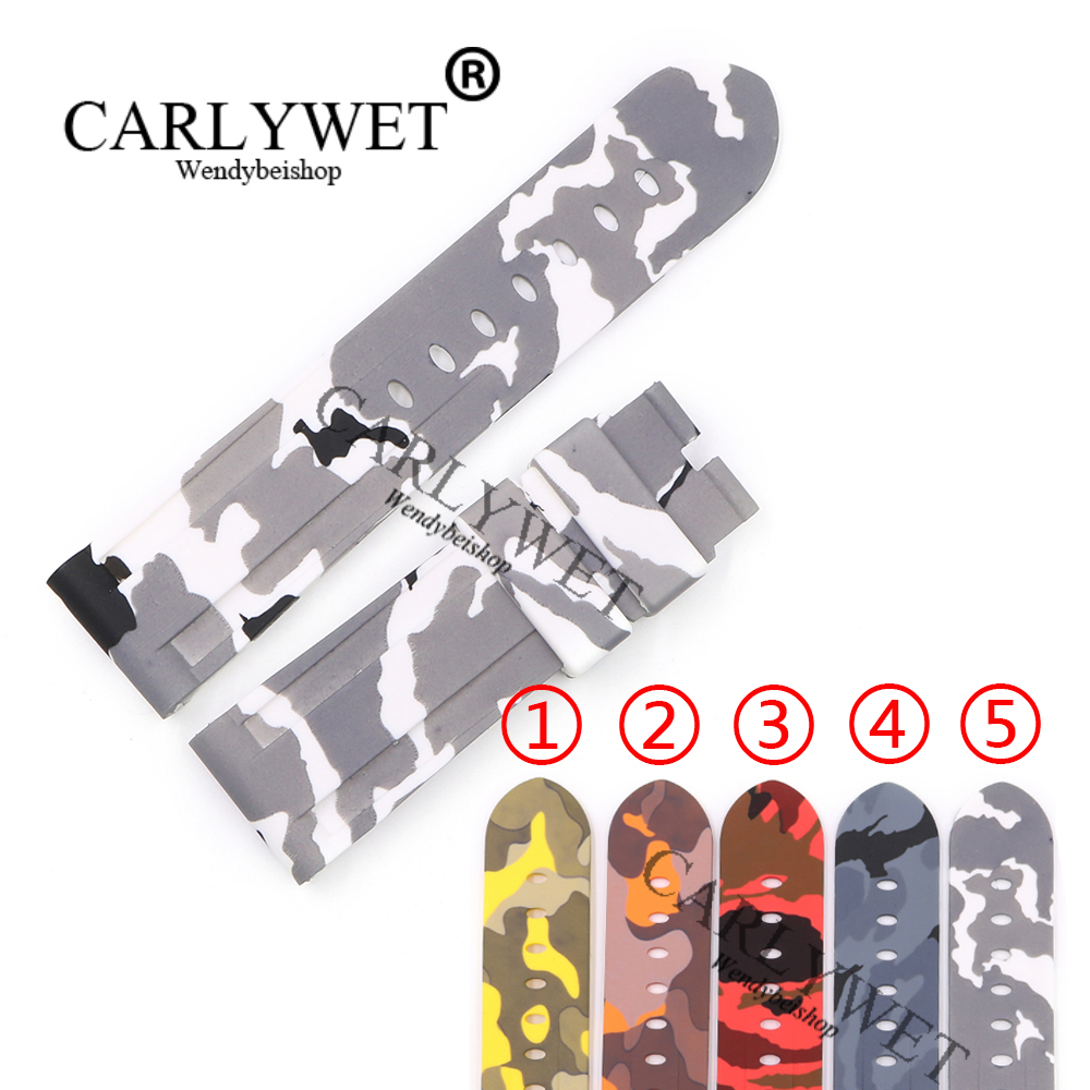 CARLYWET 24mm Hot sell Newest Camo Waterproof Silicone Rubber Replacement Wrist Watch Band Strap Belt For Panerai Luminor carlywet 24mm hot sell newest camo waterproof silicone rubber replacement wrist watch band strap belt for panerai luminor