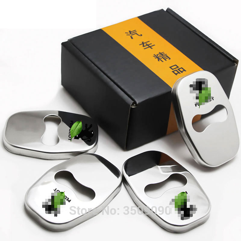 Free Shipping Door Lock Cover Caps Protective Car Styling 4pcs/set Stainless Steel For PEUGEOT 5008 4008 308 207 стоимость