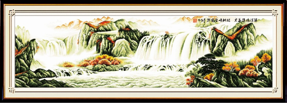 Magnificent mountains and rivers cross stitch kit Chinese fabric 14ct 11ct hand embroidery DIY handmade needlework supplies bag