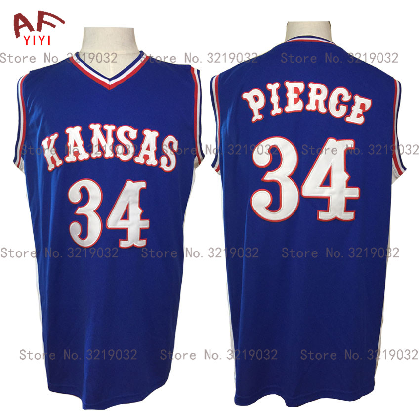 AIFEIYIYI 2018 Cheap Throwback Jersey Paul Pierce 34 Kansas Jayhawks KU College Basketball Jersey Blue Stitched Mens Shirts michael jordan jersey 23 north carolina tar heels basketball jersey throwback men s college jersey sport shirt all stitched
