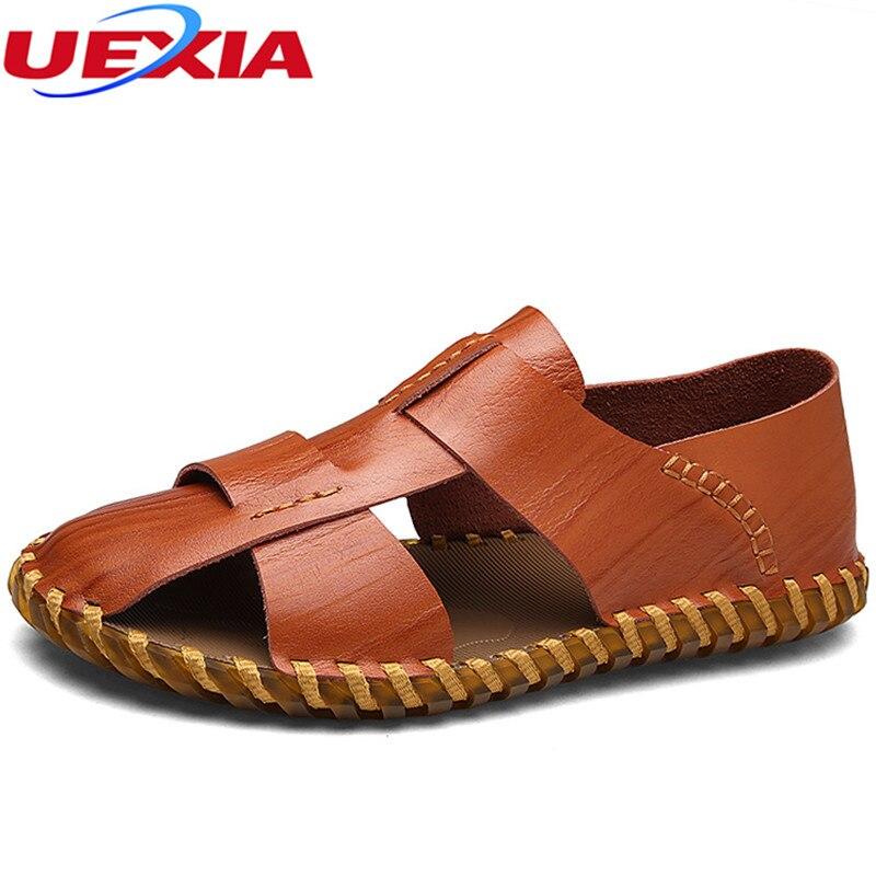 UEXIA Luxury Leather Summer Shoes Men Sandals Fashion Male Sandalias Beach Shoes Soft Bottom Breathable Classic Retro Gladiator