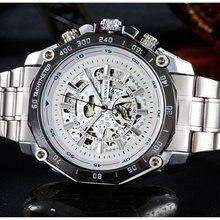 De cuerda automática mecánico relojes hombres marca de lujo hombres esqueléticos de acero lleno noctilucentes point impermeable reloj de pulsera para hombre