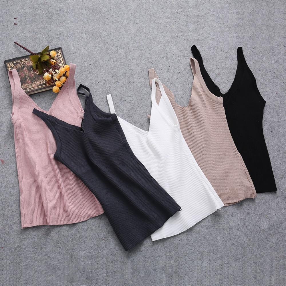 New Sexy Women Plain Camisole Double V-neck Vest Slim Sling Short Tank Tops