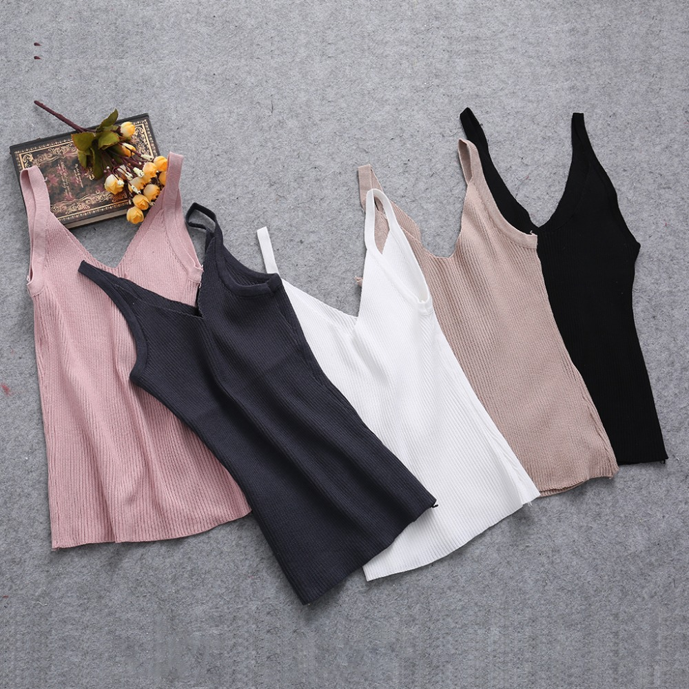 New Sexy Women Plain Camisole Double V-neck Vest Slim Sling Short   Tank     Tops