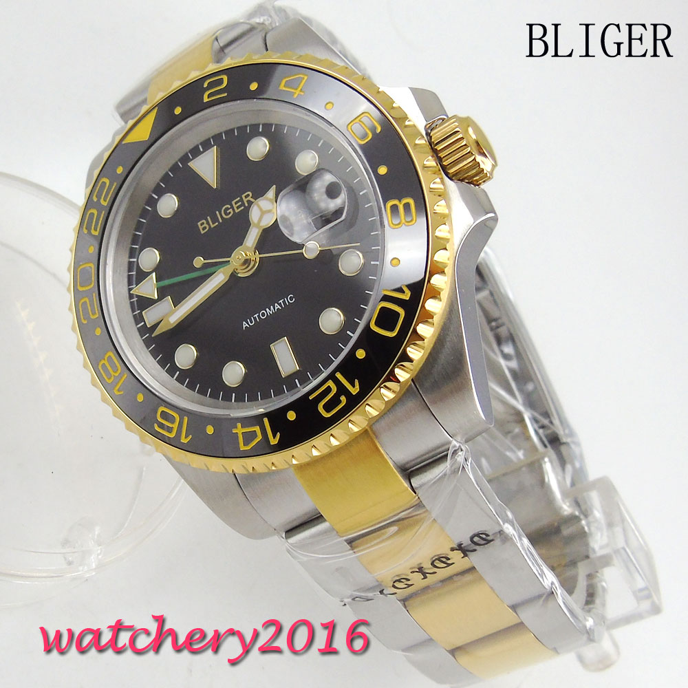 40mm Bliger Black Dial ceramic bezel GMT sapphire Glass Yellow Golden plated Steel Case Automatic movement mens Watch40mm Bliger Black Dial ceramic bezel GMT sapphire Glass Yellow Golden plated Steel Case Automatic movement mens Watch