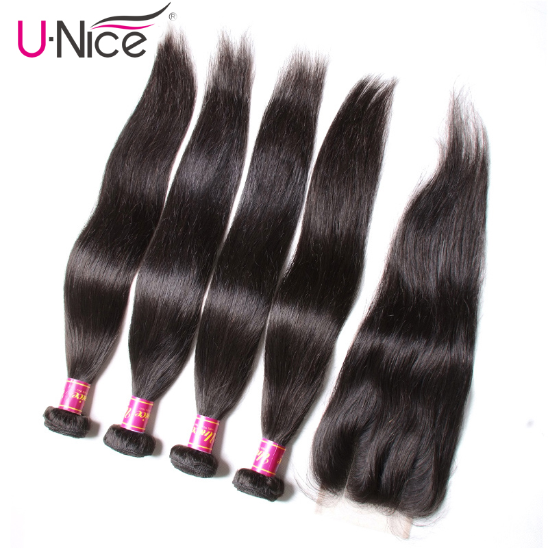 UNICE HAIR 5PCS Peruvian Straight Human Hair Bundles with Closure Natural Color Remy Hair Weave with