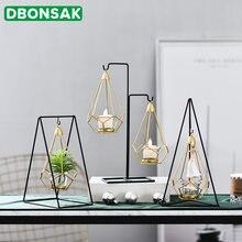 Скандинавская Геометрическая железная ваза золотой стеклянный