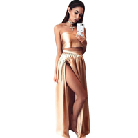 2 Piece Set Women Beach Dress Summer Strapless Party Dresses Summer High Slit Bodycon Green Gold