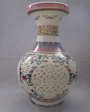 Collect H:11 inch Chinese Painting Flower Ceramic Vase/Classic Jingdezhen Ceramic tabletop Vase V00010