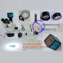 FYSCOPE Microscope Set 3 5X 90X Microscope Double Boom Stand Simul Focal Stereo Zoom Microscope 14MP